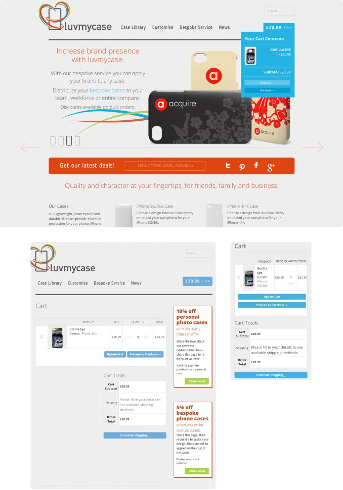 Responsive eCommerce shopping cart. Luvmycase.